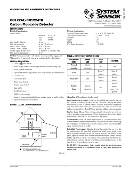 small resolution of system sensor co1224t 4 wire co detector installation manual docshare tips
