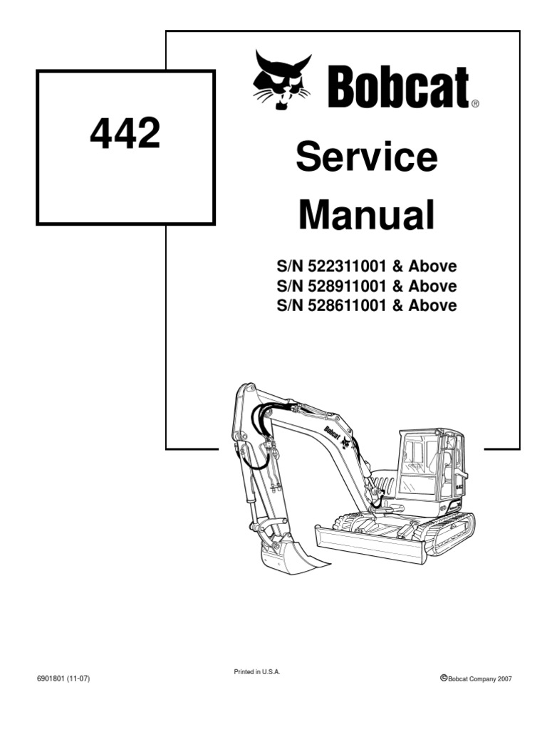 medium resolution of 8612958 bobcat 442 mini excavator service repair manual download s n 522311001 above s n 528911001 above