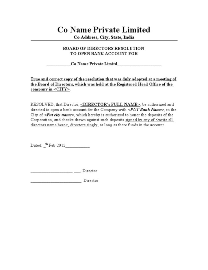 letter of resolution template - board resolution to open bank account template 28 images