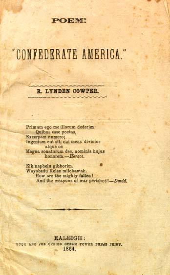 R Lynden Cowper Poem Confederate America