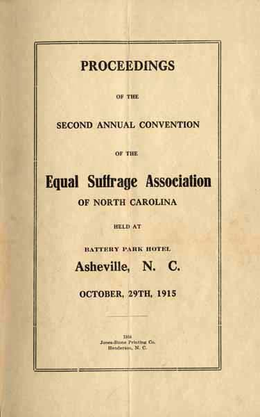 Equal Suffrage Association of North Carolina Proceedings