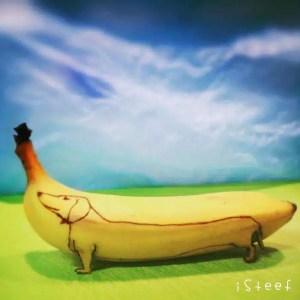 Dessin de chien sur banane