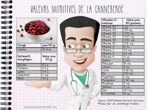 Valeurs nutritives de la canneberge