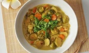 Recette des choux de bruxelles au curry et au lait de coco
