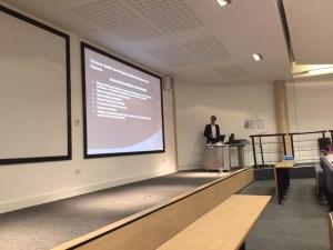 Dr Aseem talking at University of Reading