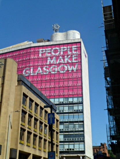 People make Glasgow slogan seen from George Square