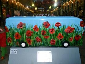 Poppy Fields bus sculpture, London
