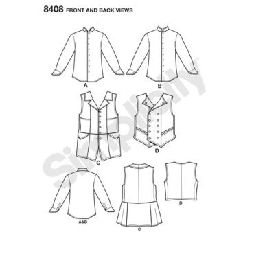 simplicity-mens-vest-shirt-costume-arkivestry-pattern-8408-front-back-view
