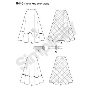 simplicity-vintage-1950s-poodle-skirt-miss-pattern-8446-front-back-view