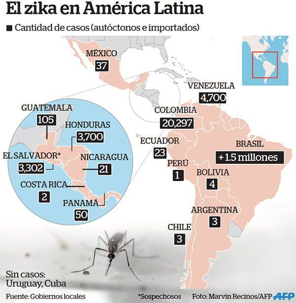 mapa del virus zika