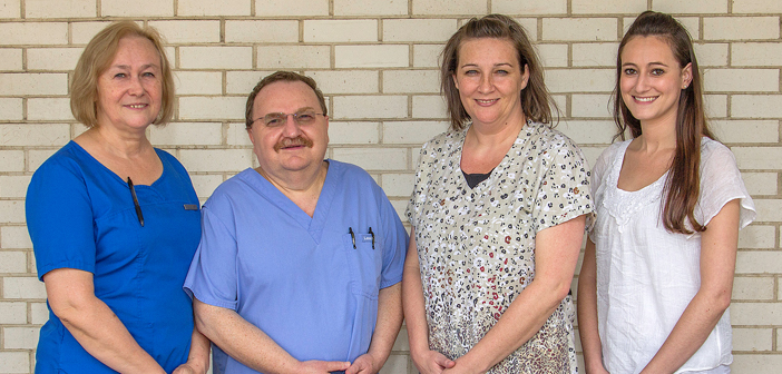 CHI St. Luke's Health Memorial Clinics welcomes longtime Lufkin family medicine physician Dr. Andrew Fercowicz and his staff to the Lufkin Care Team. Pictured from left to right: Chessa Fercowicz, WHNP; Dr. Fercowicz; Cally Claussen, PNP; and Marni Rossman, FNP-BC.