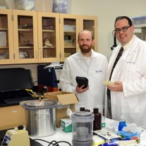 Photo L to R:  Dr. Michael Rust, Associate Professor of Biomedical Engineering, and Dr. Ronny Priefer, Professor of Medicinal Chemistry.