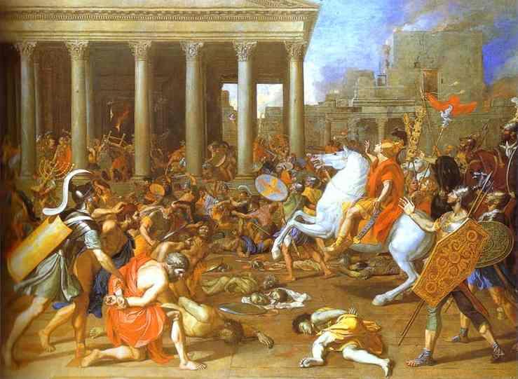 Jerusalem under attack by Titus Vespasian Artist Poussin 1623