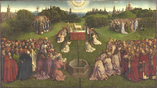The Ghent altarpiece: Adoration of the Lamb. By Jan van Eyck 1432