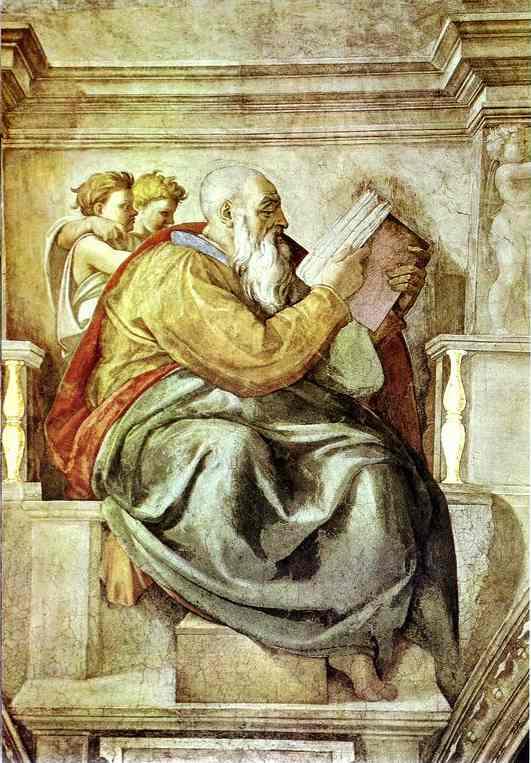 The Prophet Zechariah by Michelangelo for the Sistine Chapel Cir 1512