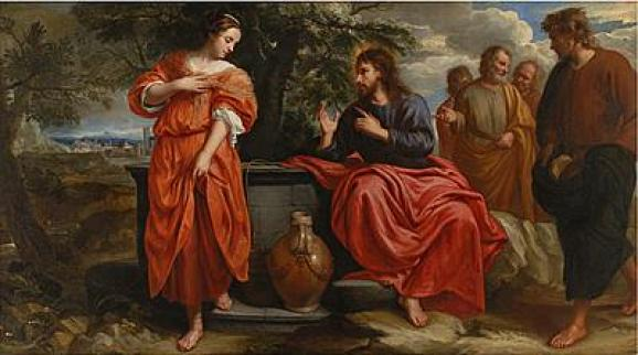 Christ and the Samaritan Woman at the Well by Jacob van Oost cir 1668