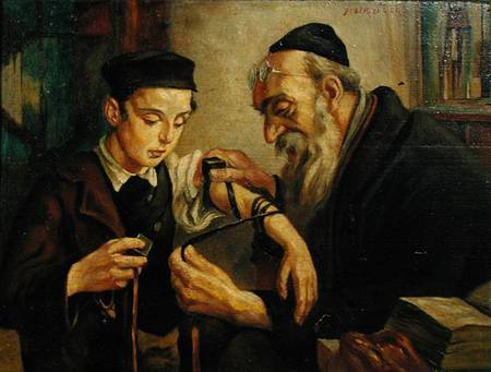 STC172909 A Rabbi tying the Phylacteries to the arm of a boy (oil on canvas) by Jewish School (19th century) oil on canvas Private Collection The Stapleton Collection Israeli, out of copyright