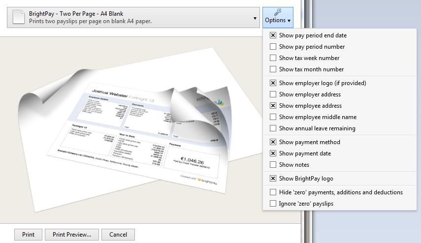 Printing Payslips  BrightPay Documentation