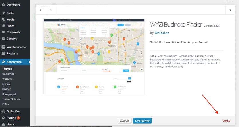 delete-wyzi-business-finder-theme