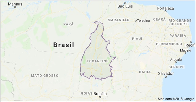Mapa do Estado do Tocantins | Fonte: Google Maps