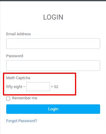 Admin area Math Captcha