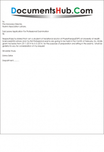 Professional Leave Application For Exam (For Medical Students)