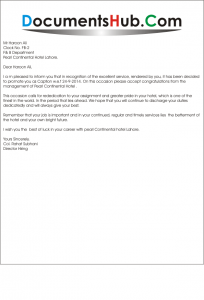 Promotion Letter to Employee for Good Performance Sample