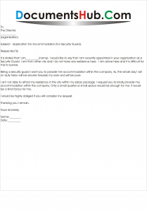Request Letter for Residence