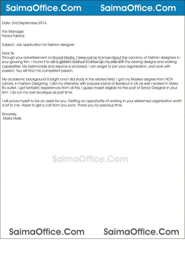 Job Application For Fashion Designer