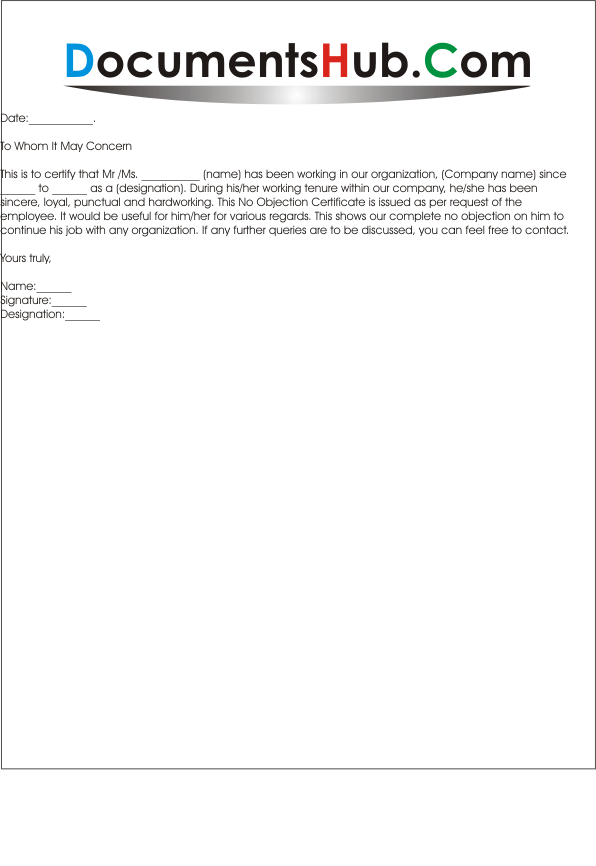 Captivating NOC Letter Format For Job Change  No Objection Letter Format
