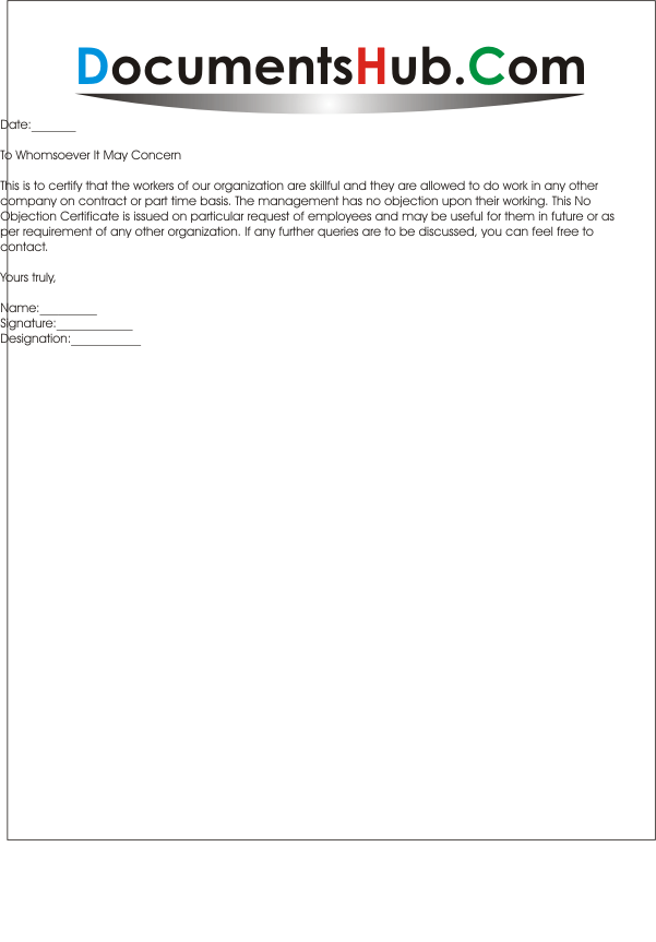 NOC Letter Format for Employee