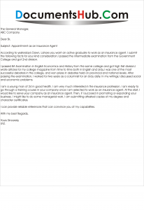 Cover letter Insurance Sales Agent