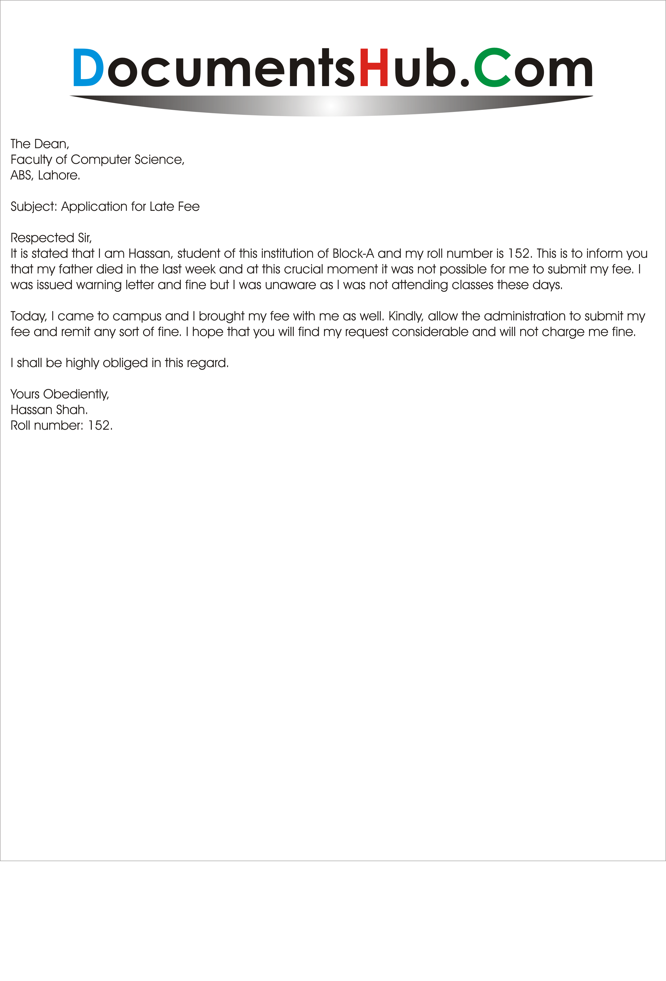 Sample Application for Late Fee Submission