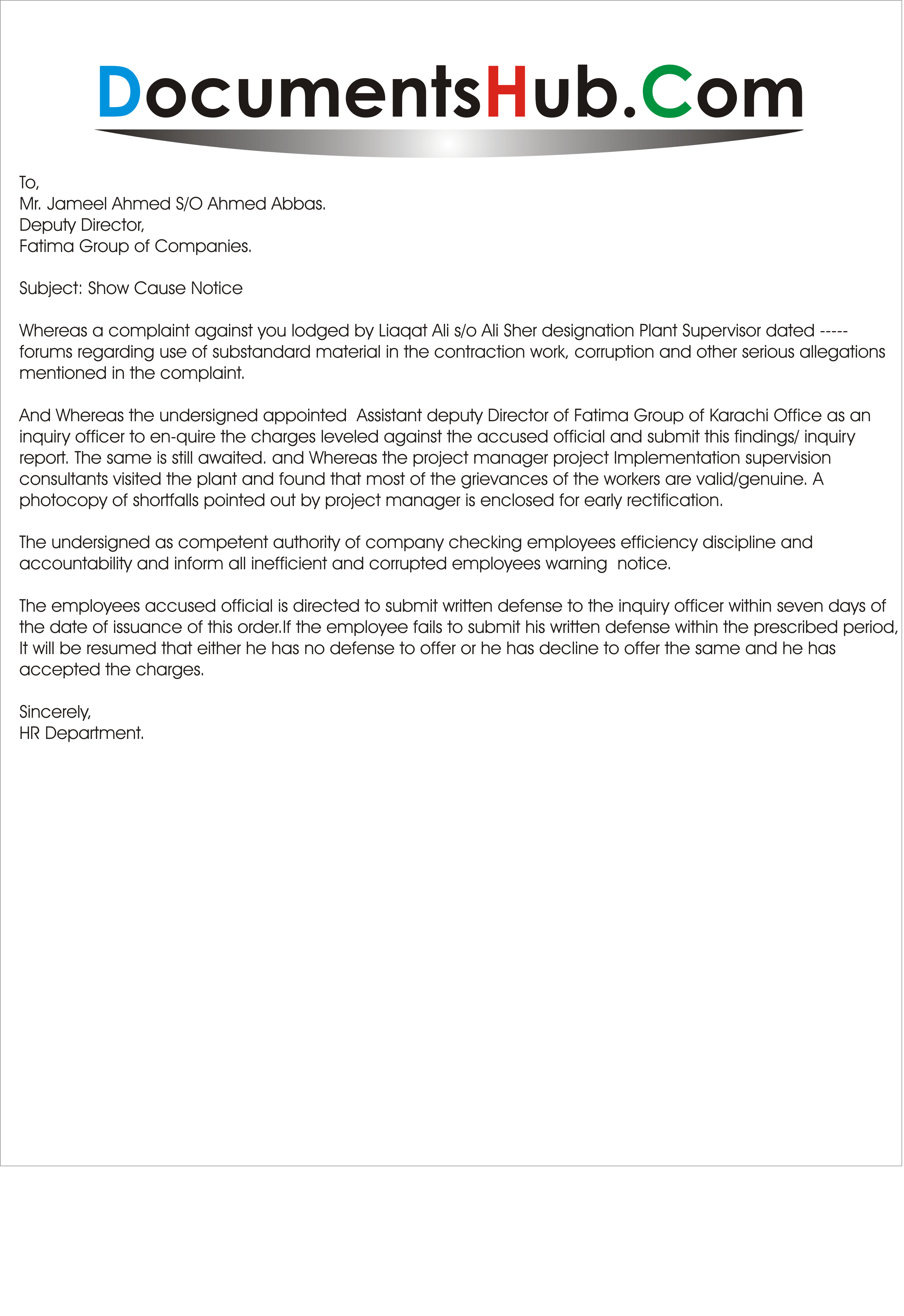 show cause notice reply for absence