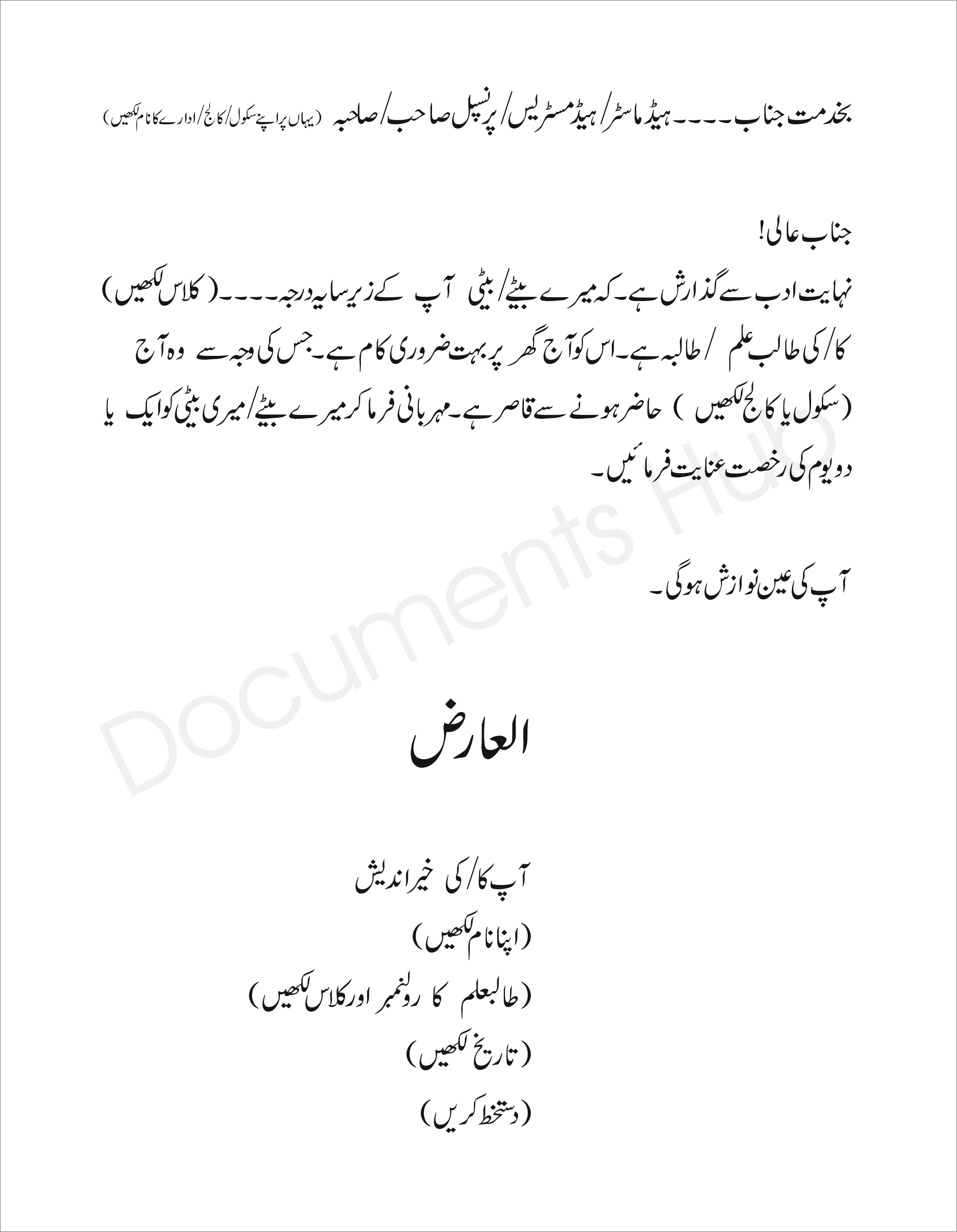 Application For Urgent Piece Of Work In Urdu 1
