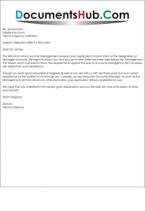 Rejection Letter for Promotion