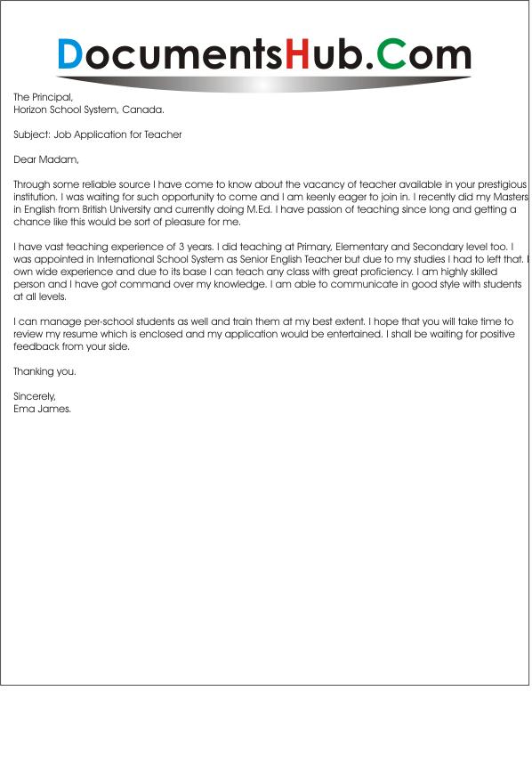 Application Letter For Teaching Position