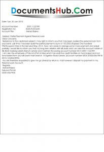 Email Letter for Bank Loan Installment