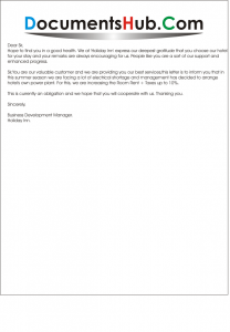 Rate Increase Letter for Hotel