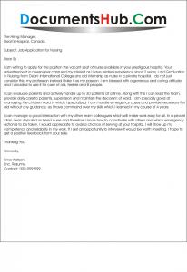 Sample Cover Letter for Nursing