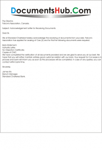 Sample Acknowledgement Letter for Receiving Documents