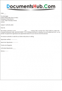 Sample Authority Letter for Bank