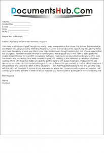 Cover Letter for Summer Internship Program Sample