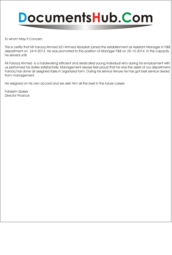 Experience Letter For Food And Beverage Manager