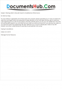 Warning Letter Format for Security Guard