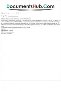 Warning Letter Format for Teacher