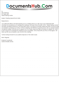 Sample Meeting Request Letter to Chairman