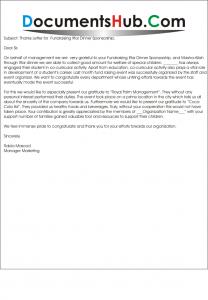 Thanks Letter for Fundraising Iftar Dinner Sponsorship