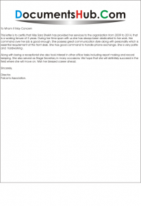 Sample Experience Letter for Receptionist