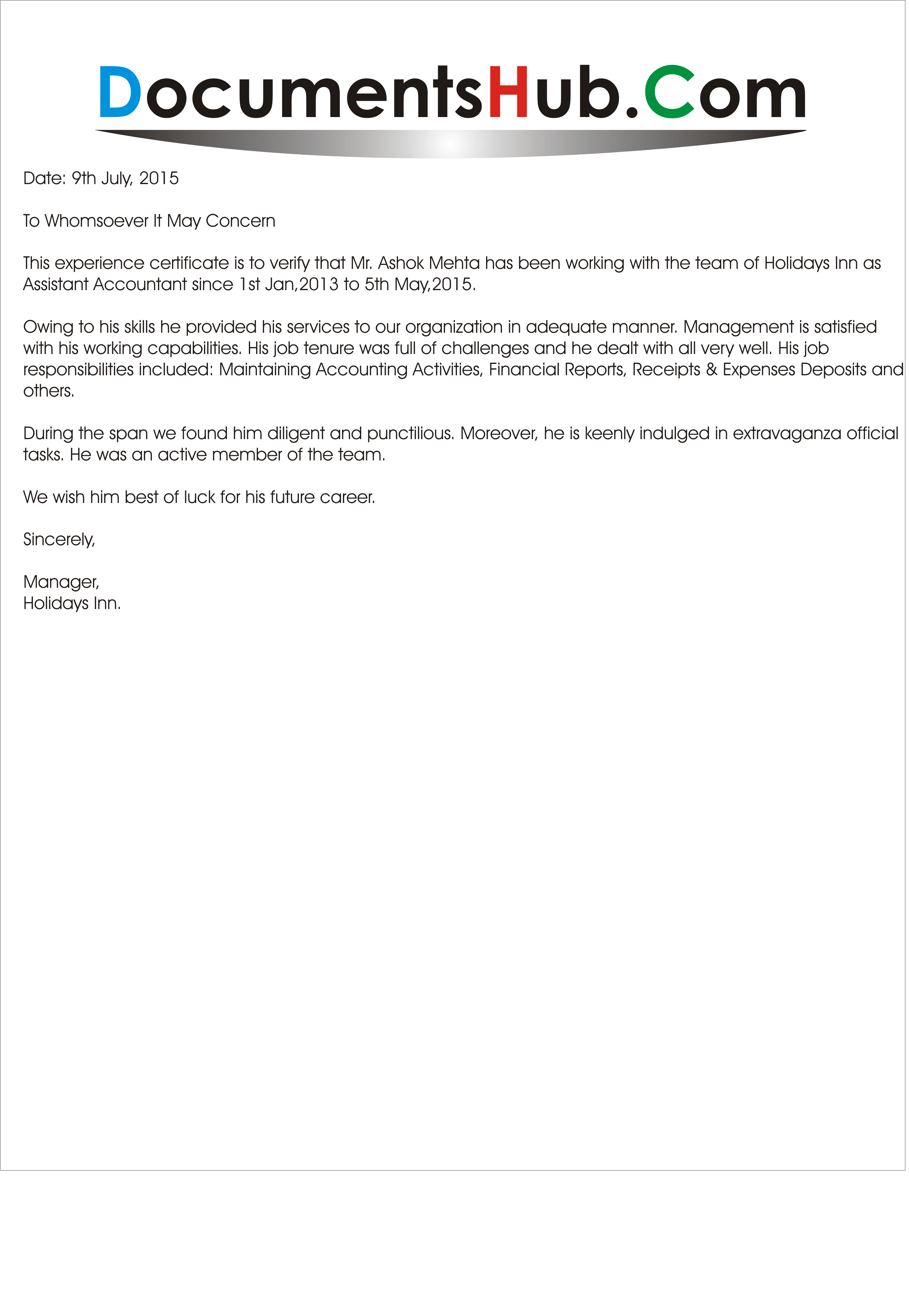 Experience Letter For Accounts Assistant